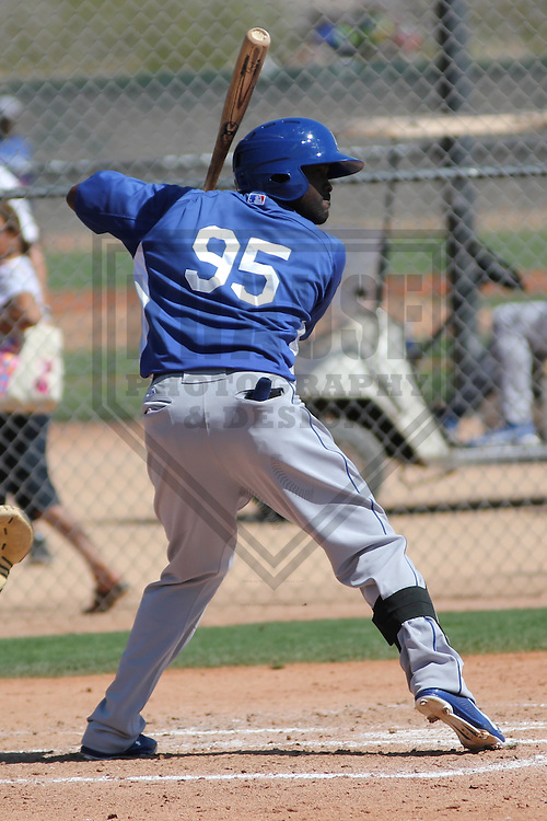GLENDALE - March 2013:  Tony Gwynn Jr. of the Los Angeles Dodgers during a Spring Training game against the Milwaukee Brewers on March 22, 2013 at Camelback Ranch in Glendale, Arizona.  (Photo by Brad Krause).
