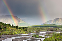 Double rainbow over the Alaska Range and the savage river drainage, Denali National Park, Interior, Alaska.