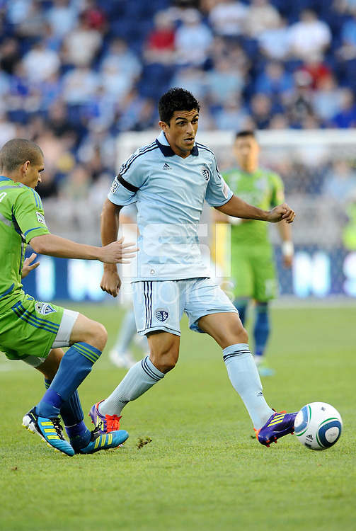 Jefferson (10)  midfielder Sporting KC in action... Sporting Kansas City were defeated 1-2 by Seattle Sounders at LIVESTRONG Sporting Park, Kansas City, Kansas.