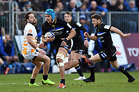 Zach Mercer of Bath Rugby goes on the attack. Heineken Champions Cup match, between Bath Rugby and Wasps on January 12, 2019 at the Recreation Ground in Bath, England. Photo by: Patrick Khachfe / Onside Images