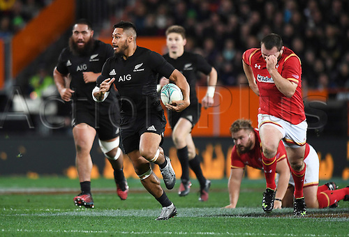 25.06.2016. Dunedin, New Zealand.  George Moala makes a break up field. New Zealand NZ All Blacks versus Wales. Rugby Union. 3rd test match of the Steinlager series. Forsyth Barr Stadium, Dunedin, New Zealand. Saturday 25 June 2016.