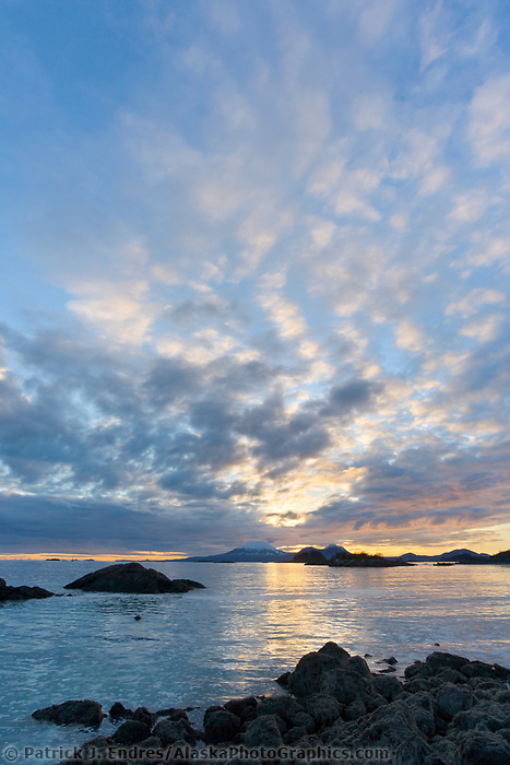View of mountEdgecumbe across Sitka Sound at sunset, Southeast, Alaska.