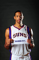 Dec. 16, 2011; Phoenix, AZ, USA; Phoenix Suns center Channing Frye poses for a portrait during media day at the US Airways Center. Mandatory Credit: Mark J. Rebilas-