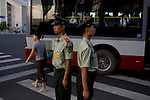 Military police stand guard on a street corner near the Olympic Games venues in Beijing, China on Tuesday, August 5, 2008. The city of Beijing is gearing up for the opening ceremonies of the Olympic Games.  Kevin German