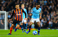 Manchester City's Raheem Sterling gets away from Shakhtar Donetsk's Maycon<br /> <br /> Photographer Alex Dodd/CameraSport<br /> <br /> UEFA Champions League Group F - Manchester City v Shakhtar Donetsk - Wednesday 7th November 2018 - City of Manchester Stadium - Manchester<br />  <br /> World Copyright © 2018 CameraSport. All rights reserved. 43 Linden Ave. Countesthorpe. Leicester. England. LE8 5PG - Tel: +44 (0) 116 277 4147 - admin@camerasport.com - www.camerasport.com