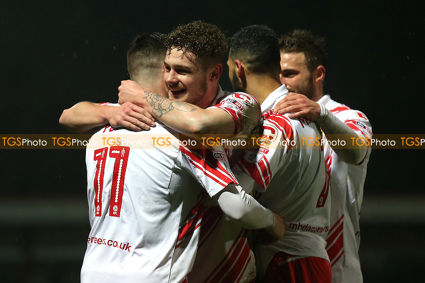 Ben Kennedy of Stevenage scores the first goal for his team and celebrates during Stevenage vs Leyton Orient, Sky Bet EFL League 2 Football at the Lamex Stadium on 28th February 2017