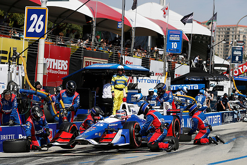 2017 Verizon IndyCar Series<br /> Toyota Grand Prix of Long Beach<br /> Streets of Long Beach, CA USA<br /> Sunday 9 April 2017<br /> Takuma Sato, pit stop<br /> World Copyright: Michael L. Levitt<br /> LAT Images