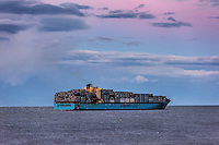 Maersk container ship departs from Chesapeake Bay on delivery, Virginia, USA
