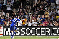 Jack Jewsbury celebrating Wizards fourth goal...Kansas City Wizards defeated New England Revolution 4-1 at Community America Ballpark, Kansas City, Kansas.