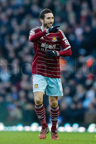 18.01.2015.  London, England. Barclays Premier League. West Ham versus Hull City.  West Ham United's Morgan Amalfitano celebrates his goal