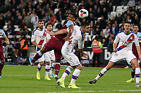 Sebastien Haller of West Ham United and Gary Cahill of Crystal Palace tussle in the penalty area during West Ham United vs Crystal Palace, Premier League Football at The London Stadium on 5th October 2019