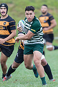 Caleb Fa'alili makes a run through the midfield. Counties Manukau Premier Counties Power Club Rugby Round 4 game between Bombay and Manurewa, played at Bombay on Saturday March 31st 2018. <br /> Manurewa won the game 25 - 17 after trailing 15 - 17 at halftime.<br /> Bombay 17 - Ki Anufe, Chay Macwood tries, Tim Cossens, Ki Anufe conversions,  Ki Anufe penalty. <br /> Manurewa Kidd Contracting 25 - Peter White 2 , Willie Tuala 2 tries, James Faiva conversion,  James Faiva penalty.<br /> Photo by Richard Spranger.