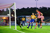 Lincoln City's Matt Rhead scores the opening goal<br /> <br /> Photographer Chris Vaughan/CameraSport<br /> <br /> The EFL Checkatrade Trophy Group H - Lincoln City v Mansfield Town - Tuesday September 4th 2018 - Sincil Bank - Lincoln<br />  <br /> World Copyright © 2018 CameraSport. All rights reserved. 43 Linden Ave. Countesthorpe. Leicester. England. LE8 5PG - Tel: +44 (0) 116 277 4147 - admin@camerasport.com - www.camerasport.com