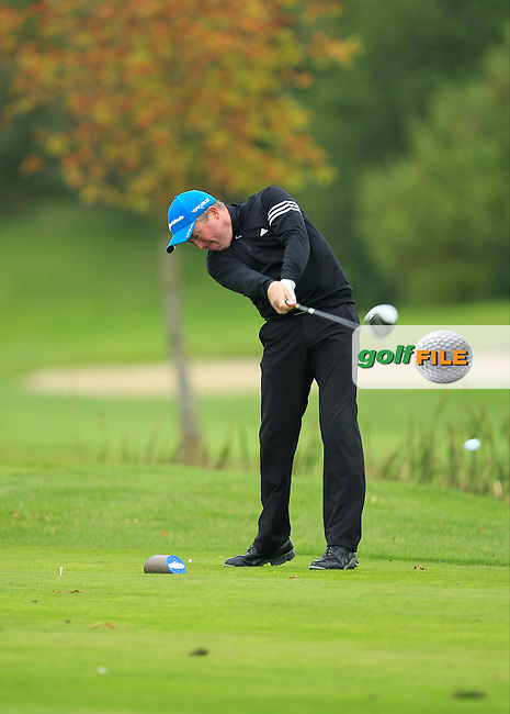 Peter Jones (Coollattin G.C) on the 15th tee during Round 3 of The Cassidy Golf 103rd Irish PGA Championship in Roganstown Golf Club on Saturday 12th October 2013.<br /> Picture:  Thos Caffrey / www.golffile.ie