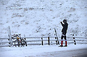 14/01/16<br /> <br /> Buxton Cycling Club member, Arne Beswick, stops to take a photo after tackling one of England's hardest and possibly coldest climbs  up to Mam Tor in the Derbyshire Peak District near Edale.<br /> <br /> All Rights Reserved: F Stop Press Ltd. +44(0)1335 418365   +44 (0)7765 242650 www.fstoppress.com