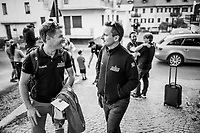 As Team Mitchelton-Scott arrives back at the team hotel, the joy of the stage 19 win by teammate Esteban Chaves is shared by staff & riders<br /> <br /> Stage 19: Treviso to San Martino di Castrozza (151km)<br /> 102nd Giro d'Italia 2019<br /> <br /> ©kramon