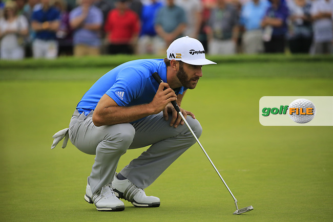 Dustin Johnson (USA) on the 2nd green during Friday's Round 1 of the 2016 U.S. Open Championship held at Oakmont Country Club, Oakmont, Pittsburgh, Pennsylvania, United States of America. 17th June 2016.<br /> Picture: Eoin Clarke | Golffile<br /> <br /> <br /> All photos usage must carry mandatory copyright credit (&copy; Golffile | Eoin Clarke)