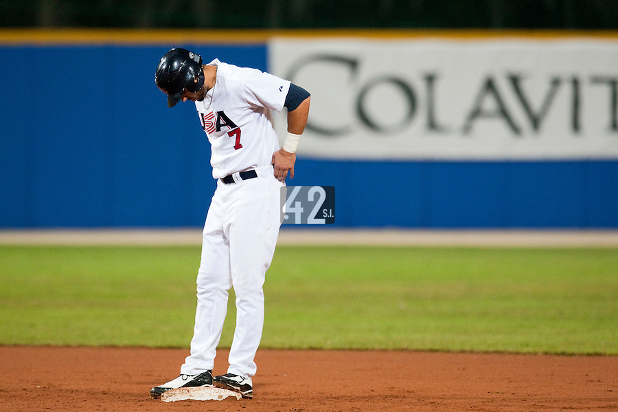 24 September 2009: Josh Kroeger of Team USA stands on second base during the 2009 Baseball World Cup final round match won 5-3 by Team USA over Cuba, in Nettuno, Italy.