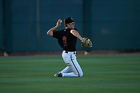 AZL D-backs left fielder Corbin Carroll (2) throws to second base from his knees during an Arizona League game against the AZL Mariners on July 3, 2019 at Salt River Fields at Talking Stick in Scottsdale, Arizona. The AZL D-backs defeated the AZL Mariners 3-1. (Zachary Lucy/Four Seam Images)