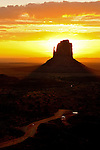 Sunrise at East Mitten Butte in Monument Valley.