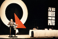 Montreal (Qc) CANADA, August 20, 1993,..File Photo -....Parti Quebecois  Leader Jacques Parizeau..adress the audience  ..at the PQ convention in Montreal, August 20, 1993....Photo by Pierre Roussel / Images Distribution........