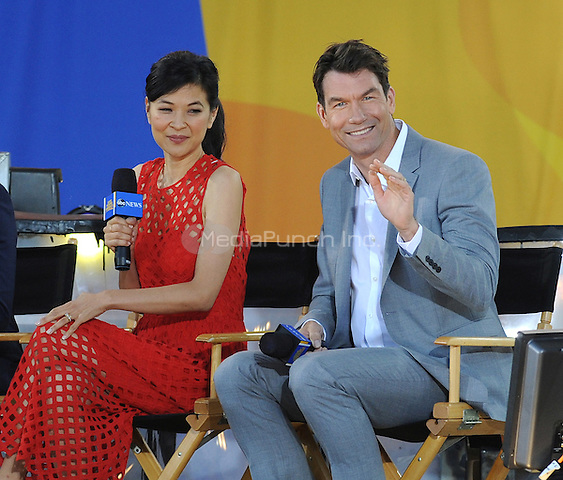 "NEW YORK, NY - June 10: Jerry O'Connell and SuChin Pak, who  will be the co- hosts of  ""People's List"" on ABC, were in Central PArk to talk about their new show  on June 19  in New York City  Photo Credit: John Palmer/ Media Punch"