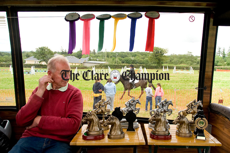 Ivan Mc Donagh, course designer, on the judge's bus at the Kildysart Show. Photograph by Declan Monaghan