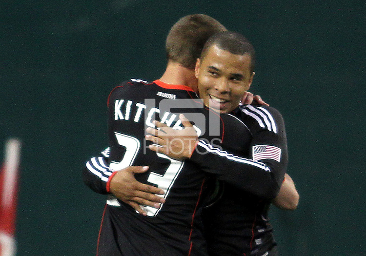 Perry Kitchen#23 and Charlie Davies#9 of D.C. United during the opening match of the 2011 season against the Columbus Crew at RFK Stadium, in Washington D.C. on March 19 2011.D.C. United won 3-1.