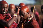 A Maasai moran has had his head shaved by his mother as part of his initiation into manhood.<br /> Kajiado, Kenya.