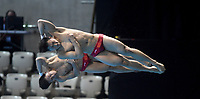 China's Luxian Wu and Zongyuan Wang Compete in the Men's 3m Synchro Springboard<br /> <br /> Photographer Hannah Fountain/CameraSport<br /> <br /> FINA/CNSG Diving World Series 2019 - Day 1 - Friday 17th May 2019 - London Aquatics Centre - Queen Elizabeth Olympic Park - London<br /> <br /> World Copyright © 2019 CameraSport. All rights reserved. 43 Linden Ave. Countesthorpe. Leicester. England. LE8 5PG - Tel: +44 (0) 116 277 4147 - admin@camerasport.com - www.camerasport.com