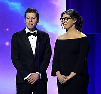 MOUNTAIN VIEW, CA - DECEMBER 3: Mayim Bialik and Sam Altman appear on the 6th Annual Breakthrough Prize at NASA Ames Research Center on December 3, 2017 in Mountain View, California. (Photo by Frank Micelotta/NatGeo/PictureGroup)