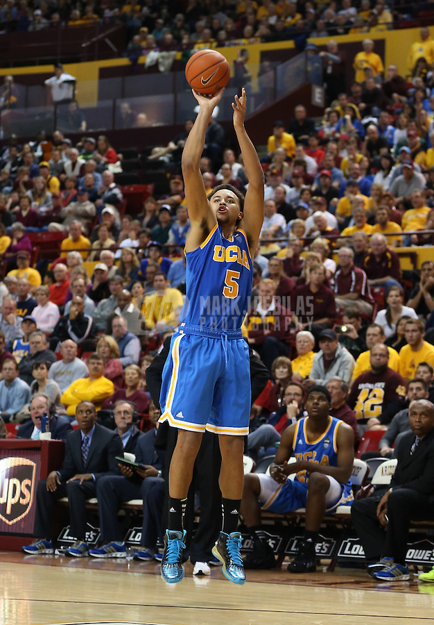 Jan. 26, 2013; Tempe, AZ, USA: UCLA Bruins guard Kyle Anderson (5) shoots a three pointer against the Arizona State Sun Devils at the Wells Fargo Arena. Arizona State defeated UCLA 78-60. Mandatory Credit: Mark J. Rebilas-USA TODAY Sports