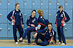 Media Day at Lilleshall NSC British Gymnastics. Squad members pictured ahead of the European Championships for Women in Belgium May 9th-13th 2012. Senior Womens Team. Hannah Whelan,Danusia Francis, Rebecca Tunney, Jennifer Pinches,Imogen Cairns