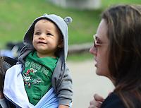 May 20, 2012; Topeka, KS, USA: NHRA funny car driver Ashley Force Hood and son Jacob Hood during the Summer Nationals at Heartland Park Topeka. Mandatory Credit: Mark J. Rebilas-