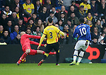 Everton's Romelu Lukaku scoring his sides first goal during the Premier League match at Vicarage Road Stadium, London. Picture date December 10th, 2016 Pic David Klein/Sportimage