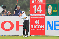 Azahara Munoz (ESP) on the 14th tee during Round 2 of the Ricoh Women's British Open at Royal Lytham &amp; St. Annes on Friday 3rd August 2018.<br /> Picture:  Thos Caffrey / Golffile<br /> <br /> All photo usage must carry mandatory copyright credit (&copy; Golffile | Thos Caffrey)