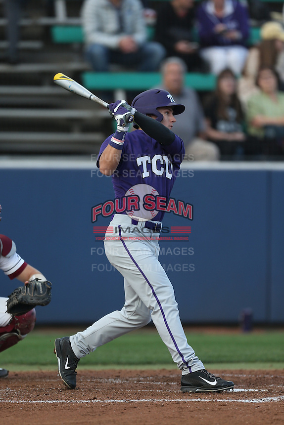 Nolan Brown (6) of the TCU Horned Frogs bats during a game against the Loyola Marymount Lions at Page Stadium on March 16, 2015 in Los Angeles, California. TCU defeated Loyola, 6-2. (Larry Goren/Four Seam Images)
