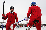 MINNEAPOLIS, MINNESOTA - JANUARY 19:  Players change out during a game at the U.S. Pond Hockey Championships on Lake Nokomis on January 19, 2013 in Minneapolis, Minnesota.  Editorial use only.  Commercial use prohibited.  (Photograph by Jonathan Paul Larsen)