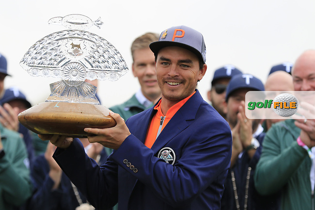 Rickie Fowler (USA) celebrates the win on 18th during the final round of the Waste Management Phoenix Open, TPC Scottsdale, Scottsdale, Arisona, USA. 03/02/2019.<br /> Picture Fran Caffrey / Golffile.ie<br /> <br /> All photo usage must carry mandatory copyright credit (© Golffile | Fran Caffrey)