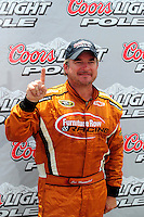 Apr 26, 2008; Talladega, AL, USA; NASCAR Sprint Cup Series driver Joe Nemechek celebrates after winning the pole for the Aarons 499 at Talladega Superspeedway. Mandatory Credit: Mark J. Rebilas-US PRESSWIRE