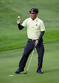 16.10.2014. The London Golf Club, Ash, England. The Volvo World Match Play Golf Championship.  Day 2 group stage matches.  Thongchai Jaidee [THI] holes a putt on the seventh green.