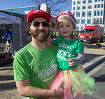 Galen and daughter Nova after the 7th annual Leprechaun Race in downtown Reno, Nevada on Sunday, March 17, 2019.