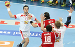 12.01.2013 Barcelona, Spain. IHF men's world championship, Quarter-Final. Picture show Bo Spellerberg   in action during game between Denmark vs Hungary at Palau ST Jordi