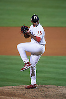 Glendale Desert Dogs pitcher Edubray Ramos (75) delivers a pitch during an Arizona Fall League game against the Salt River Rafters on October 21, 2015 at Camelback Ranch in Glendale, Arizona.  Glendale defeated Salt River 1-0.  (Mike Janes/Four Seam Images)
