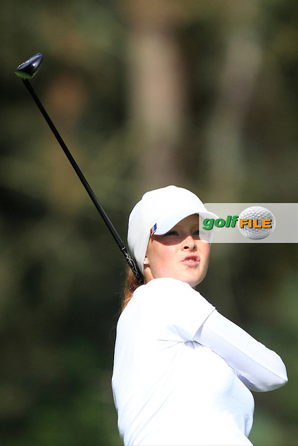 Mathilda Capelliez (FRA) on the 3rd tee of the Mixed Fourballs during the 2014 JUNIOR RYDER CUP at the Blairgowrie Golf Club, Perthshire, Scotland. <br /> Picture:  Thos Caffrey / www.golffile.ie