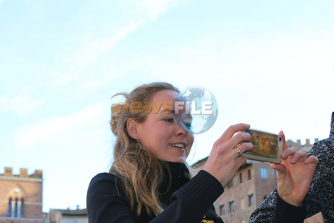 Last year's winner World Champion Anna Van der Breggen (NED) Boels Dolmans posees for pictures in Il Campo Siena finish line of the 2019 Strade Bianche running 184km from Siena to Siena, held over the white gravel roads of Tuscany, Italy. 8th March 2019.<br /> Picture: Seamus Yore | Cyclefile<br /> <br /> <br /> All photos usage must carry mandatory copyright credit (© Cyclefile | Seamus Yore)
