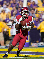 NWA Democrat-Gazette/BEN GOFF @NWABENGOFF<br /> De'Vion Warren, Arkansas wide receiver, returns a kickoff in the third quarter Saturday, Nov. 11, 2017 at Tiger Stadium in Baton Rouge, La.