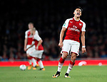 Arsenal's Alexis Sanchez screams in anger after not receiving a pass from Jack Wilshere during the Carabao cup match at the Emirates Stadium, London. Picture date 20th September 2017. Picture credit should read: David Klein/Sportimage