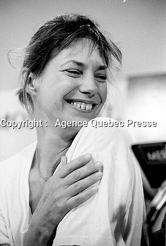 August 26 1988  File Photo - Montreal, Quebec, CANADA - Jane Birkin and Agnes Varda news conference for the film <br /> Kung Fu Master, at Montreal's World Film Festival