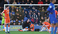 Blackpool's Armand Gnanduillet receives treatment for an injury<br /> <br /> Photographer Kevin Barnes/CameraSport<br /> <br /> The EFL Sky Bet League One - AFC Wimbledon v Blackpool - Saturday 29th December 2018 - Kingsmeadow Stadium - London<br /> <br /> World Copyright &copy; 2018 CameraSport. All rights reserved. 43 Linden Ave. Countesthorpe. Leicester. England. LE8 5PG - Tel: +44 (0) 116 277 4147 - admin@camerasport.com - www.camerasport.com